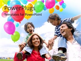PowerPlugs: PowerPoint template with happy family with Colored balloons in air with blue cloudy sky