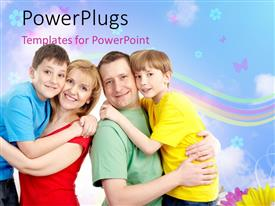 PowerPlugs: PowerPoint template with happy family concept, parents with their two children with nice nature depiction in the background
