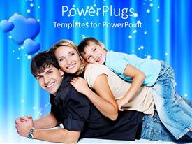 PowerPlugs: PowerPoint template with happy family, dad, mom, child with blue hearts on blue background