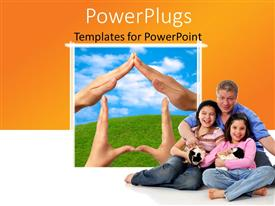 PowerPlugs: PowerPoint template with happy family depicting house