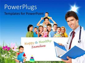 PowerPlugs: PowerPoint template with happy family on flower field with medical doctor smiling