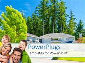 PowerPlugs: PowerPoint template with happy family of four with luxurious residential house with flowers