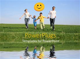 PowerPoint template displaying happy family of four with a yellow smiley face