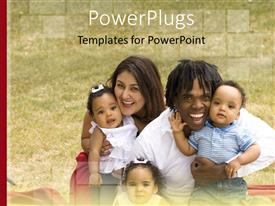 PowerPlugs: PowerPoint template with a happy family with greenery in the background
