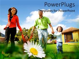 PowerPlugs: PowerPoint template with happy family having fun with garden
