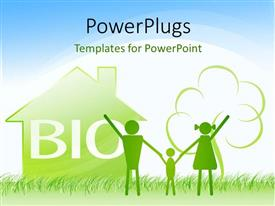 PowerPlugs: PowerPoint template with a happy family with a house in the background