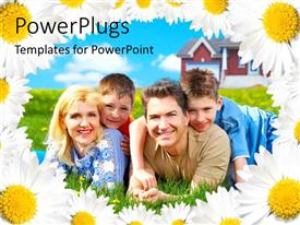 PowerPlugs: PowerPoint template with happy family laying in green grass field with house and flower frames