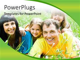 PowerPlugs: PowerPoint template with happy family lying on the grass and having fun with green color