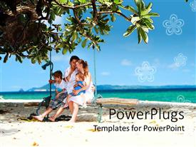 PowerPoint template displaying happy family, mom, dad and two kids on swinging bench on beach and sea water with blue sky background