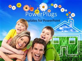 PowerPlugs: PowerPoint template with happy family with parents carrying kids over shoulder with house in green field
