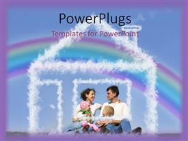 PowerPlugs: PowerPoint template with happy family in park with rainbow in background and snow forming house