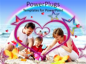 PowerPlugs: PowerPoint template with happy family playing in sand on beach, parents, child, mother, father, hearts, rainbow, stars