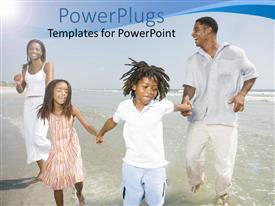 PowerPlugs: PowerPoint template with a happy family playing in the sea