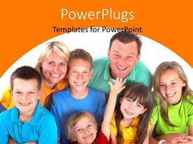 PowerPlugs: PowerPoint template with happy family of seven smiling over white background
