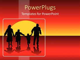 PowerPoint template displaying happy family silhouettes running into sunset