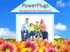 Beautiful theme enhanced with happy family sitting by 2D house in colorful flower field