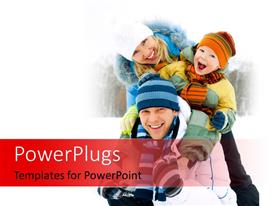 PowerPoint template displaying happy family spending time outdoor in winter park with snow