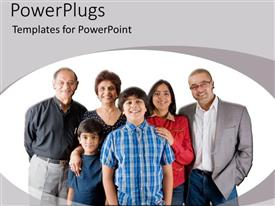 PowerPoint template displaying happy family takes group landscape picture with grandfather