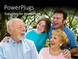 PowerPlugs: PowerPoint template with happy family with three generations having vacation in park
