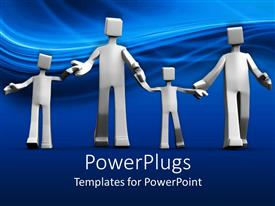 PowerPlugs: PowerPoint template with happy family white figures with two kids in blue background
