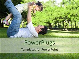 PowerPlugs: PowerPoint template with happy father and little girl on the grass with trees