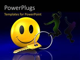 PowerPlugs: PowerPoint template with a happy figure with a key and bluish background