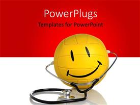 PowerPlugs: PowerPoint template with a happy figure with a stethoscope and reddish background