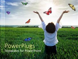 PowerPlugs: PowerPoint template with happy girl from back with hands risen to sky on green field with colorful butterflies flying around her