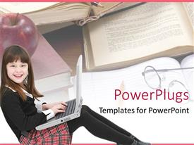 PowerPlugs: PowerPoint template with happy girl child student using laptop with books, apple and glasses, education, learning, school