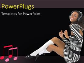 PowerPlugs: PowerPoint template with happy girl with headphones moving to the music tune
