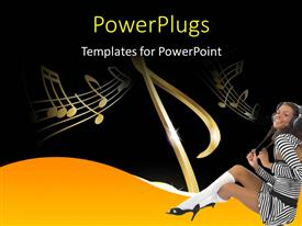 PowerPlugs: PowerPoint template with a happy girl because of music