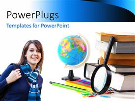PowerPlugs: PowerPoint template with a happy girl with a number of books and a magnifying glass
