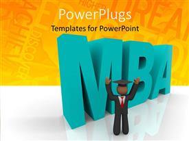 PowerPlugs: PowerPoint template with happy graduate with graduation hat and 3D rendering MBA