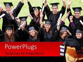 PowerPlugs: PowerPoint template with happy graduating students with diplomas raised high and graduation cap on book pile