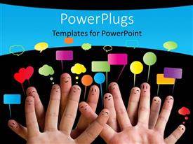 PowerPlugs: PowerPoint template with happy group of finger smiley with speech bubbles