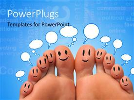 PowerPlugs: PowerPoint template with a pair of feet with a bluish background