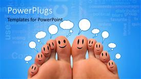 PowerPoint template displaying a pair of feet with a bluish background