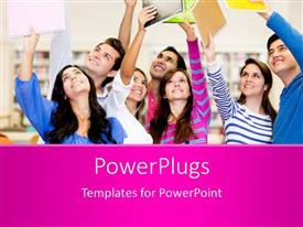 PowerPlugs: PowerPoint template with happy group of students celebrating with arms up