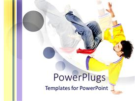 PowerPoint template displaying happy guy displaying break dance talent on white background
