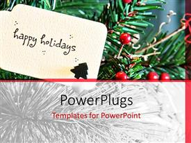 PowerPlugs: PowerPoint template with a tag on a Christmas tree with a text that spells out 'happy holiday'
