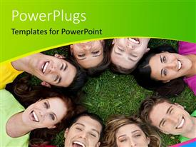 PowerPlugs: PowerPoint template with eight smiling men and women laying with their heads together