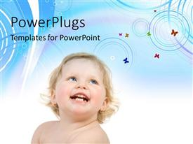 PowerPlugs: PowerPoint template with a happy kid with a bluish background and place for text