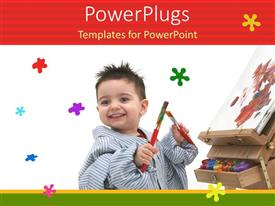 PowerPlugs: PowerPoint template with happy kid playing with paint brushes and drawing sheet