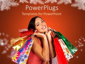 PowerPoint template displaying a happy lady after shopping for Christmas along with red background