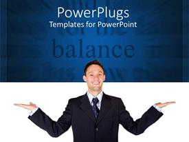 PowerPoint template displaying happy man in suit on white and blue background