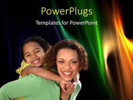 PowerPlugs: PowerPoint template with happy mother carries child on back over abstract background