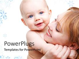 PowerPlugs: PowerPoint template with happy mother carrying beautiful baby in hand with colorful background