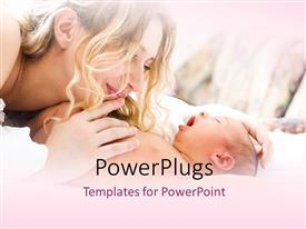 PowerPlugs: PowerPoint template with a happy mother cuddling her cute newly born baby