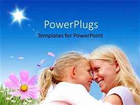PowerPlugs: PowerPoint template with happy mother and daughter in green flower field over blue sky