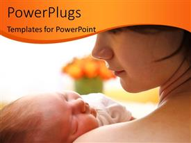 Presentation design featuring happy mother holding a newborn baby over bright background